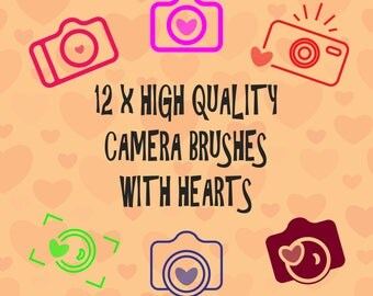 12 x Camera Brushes with Hearts, Photography Brush, High Quality, Instant Download.