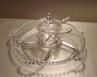 Imperial Glass Candlewick 6 Part Relish Dish with Marmalade Jar and Spoon, Appetizers, Snacks, Elegant Style