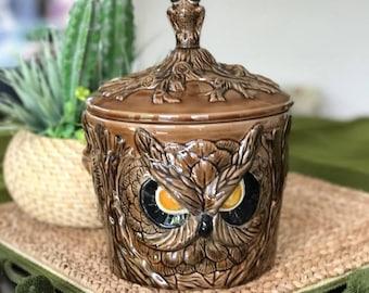 CERAMIC OWL Planter / Mid Century Planter / Owl Container / Vintage Ceramic Owl Ceramic Container