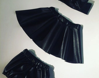 Together headband, buckets and different black leatherette bloomer skirt sizes available. Hand made in France