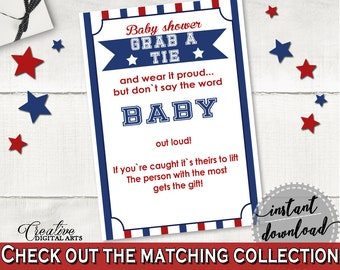 Grab A Tie Baby Shower Grab A Tie Baseball Baby Shower Grab A Tie Baby Shower Baseball Grab A Tie Blue Red shower celebration - YKN4H