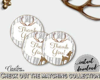 Round Tags Baby Shower Round Tags Deer Baby Shower Round Tags Baby Shower Deer Round Tags Gray Brown party supplies - Z20R3