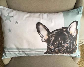 Cushion Bulldog french stripes and stars bluish green
