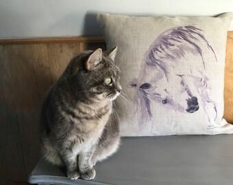 Horse natural linen cushion
