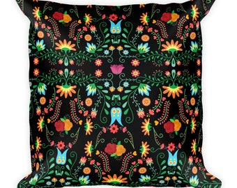 Mexican Flower Square Pillow