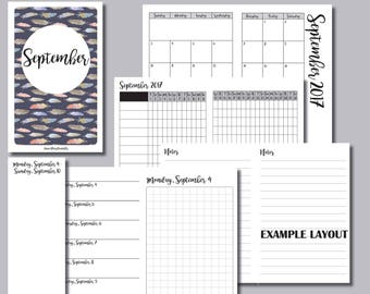 A6 Size: MONDAY Start - September 2017 Month/Weekly/Daily GRID Travelers Notebook Insert