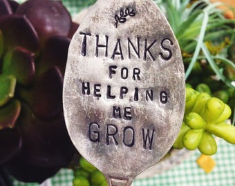 Thanks for helping me grow Plant Marker // Stamped Spoon