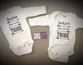 New to the tribe onesie/personalized onesie/baby shower gift/new baby onesie/announcement onesie
