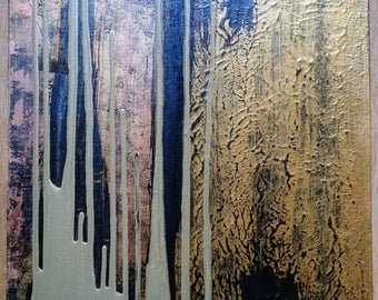 Abstract Painting Original Textured Large Metallic Gold Copper Black 16 x 20 Wall Art Canvas / SALE Original Art