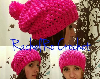 Puff Stitch Slouch Pompom Hat with optional ombre