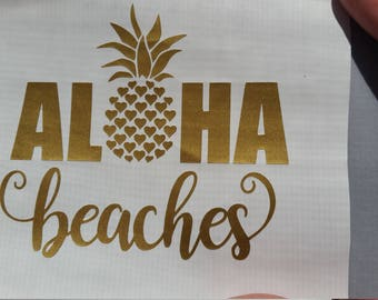 Pineapple Decal Aloha Beaches Pick your color & size. Pineapple decal. RTIC YETI tumbler decal. Car window sticker Laptop decal Beach life