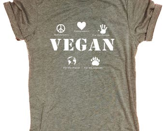 Vegan Compassion Healthy People Animals Organic Supersoft Triblend Women's Crewneck T Shirt
