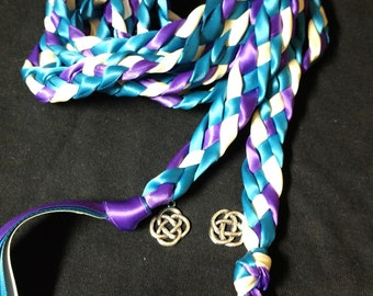 Purple, Turquoise and Ivory Handfasting Ceremony Braid -6 or 9 feet- Wedding- Fast Shipping- Braided Together- Handfasting