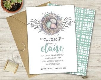 New Nest Baby Shower Invitation (Multiple Color Options Available)