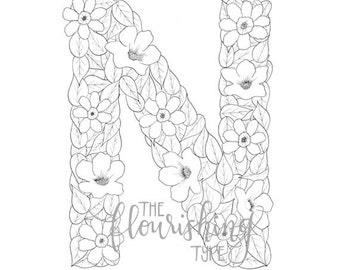 printable colouring page letter n floral inspired nolana nemesia