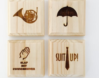 How I Met Your Mother inspired permanent engraved gift set of 4 wood coasters: Umbrella, French Horn, Suit up and Slap Bet!