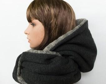 Wool large hood beige grey, women hooded scarf, hoodie infinity scarf, oversized circle scarf, gift for girlfriend sister, echarpe capuche
