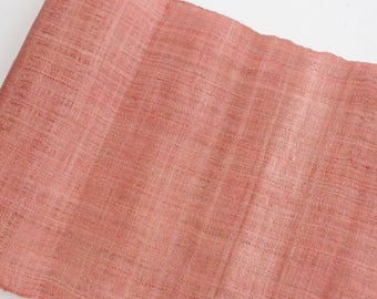 VINTAGE HEMP Hmong Hand Woven Weaving Organic Ethnic Tribal Textile Pink Off Natural Color