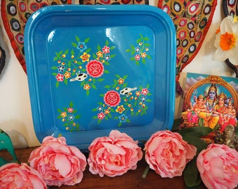 Hand Painted Kashmir Gypsy Floral Enamelware Hippie Shabby Chic Glamping Tray