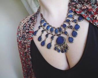 Beautiful Vintage Afghan Hippy Boho Kuchi Ethnic Tribal Banjara Festival Indie Lapis Lazuli Choker Necklace