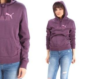 1990s Puma Hoodie Purple Pink Sweatshirt Normcore Unisex Slouch 90s Long Sleeve Sport Women Men Hipster Hip-Hop Small