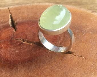 Green prehnite Ring, Green prehnite Gemstone, Prehnite Silver Ring, Prehnite stone Ring, Ring size 9, Silver prehnite Ring, Green Ring,