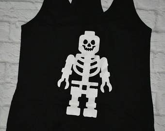 Lego skeleton tank top, lego inspired tank top, skeleton tank top