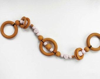 Wood DUO Pram Chain String Garland Teether  - Kinderwagenkette - Hochet - Beißring