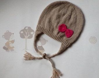 Bonnet earmuffs beige wool, baby hat, 12 / 18 mois, hand-knitted, Bébé Nuage (Baby Cloud)