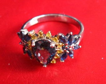 Silver ring, Topaz and yellow sapphires
