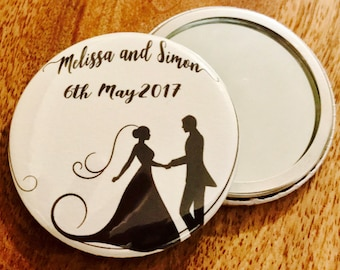 Wedding favour pocket mirror or bottle opener,  Mirror, Wedding favour, Bottle opener, Bridesmaid gift, Groomsmen gift, Bottle opener