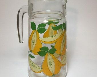 Vintage Juice Pitcher With Pear Motif