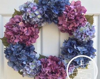 Hydrangea Wreath, Door Wreath, Summer Wreath, Wreath, Everyday Wreath, Lavender Wreath, Blue Wreath, Wreath Street Floral, Spring Wreath