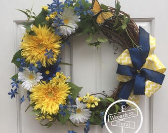 Summer Wreath, Daisy Wreath, Butterfly Wreath, Yellow Wreath, Blue Wreath, Wreath Street Floral, Grapevine Wreath, Front Door Wreath