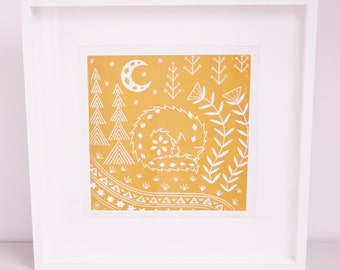 Connor Wolf in ochre, limited edition scandinavian folk art, woodland animal  linocut print