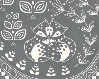Daniel and Rosie Fox in grey, limited edition scandi style linocut, woodland animal lover print