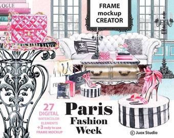 Paris Fashion Week, Frame Mockup Creator, Watercolor Painting Clipart, Brand, Girls, Digital Elements, Boho invitation, Greetings Diy card