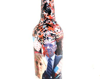 House of Cards Inspired, TV gift ideas, gifts for him, gifts for her, Decoupage Wine Bottle