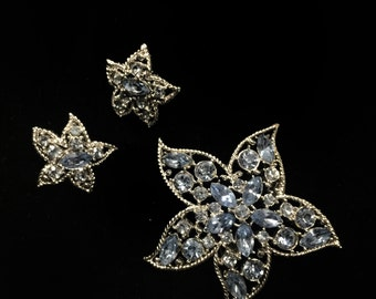 Vintage Sarah Coventry Blue Rhinestone Demi Perure Starfish Flower Brooch and Earring Set