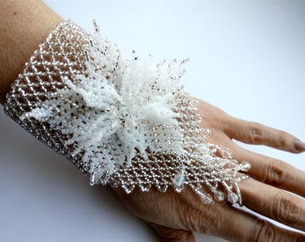 Glove of beads The silver glove is made of beads Wedding glove An accessory for a wedding A gift for her