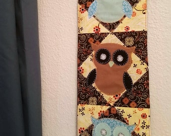 Owl themed, applique wall hanging