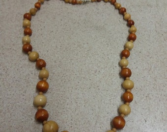 Vintage Tribal Wooden Beaded Necklace - Kitsch Boho Chic - AFRICA