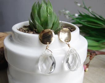 Stunning and feminine Transparent Natural Goshenite White Crystal Faceted Tear Drop earrings, Stud Base Goldfield 14K Mother Gift Friend