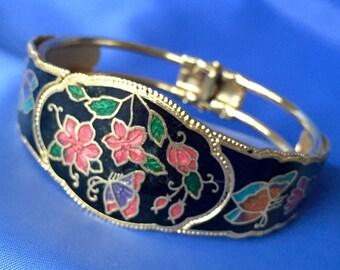 Vintage Floral Enamel Clamper Bracelet, Black and Pink Floral Bracelet, VIntage Clamper Bracelet