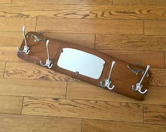 Coat rack hooks 4 vintage 1960 70x18cm