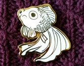 PRE-ORDER - Sad Fish Hard Enamel Pin - Gold and White - Lapel Pin Cloisonné Badge - Goldfish White Telescope