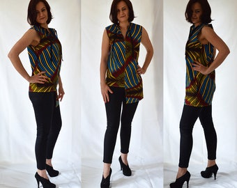 Colourful, asymmetrical, sleeveless, tube, cotton top, blouse, African print. UK size 10, 12, 14 / US 6, 8, 10