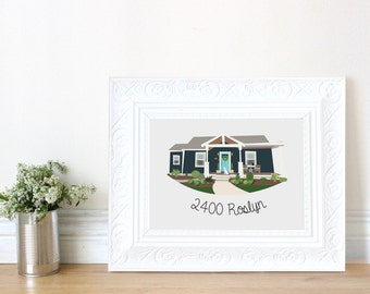 Custom Home Portrait With Yard and Dog - Animal - Housewarming