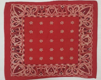 1960's Bandana (repaired) - fast color/all cotton - RN 14193 - red