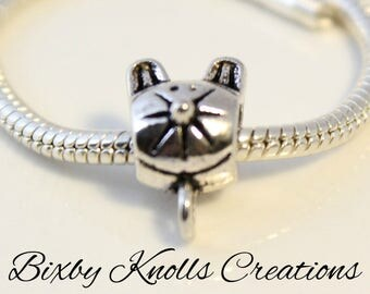 Antique Silver Cat Bail for European Style Charm Bracelets